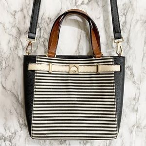 Kate Spade NWOT Striped Canvas & leather satchel